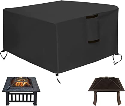 Amazon Com Saking Patio Fire Pit Cover Square 30 X 30 X 13 Inch Waterproof Windproof Anti Uv Heavy Duty Gas Firepit Furniture Table Covers Kitchen Dining