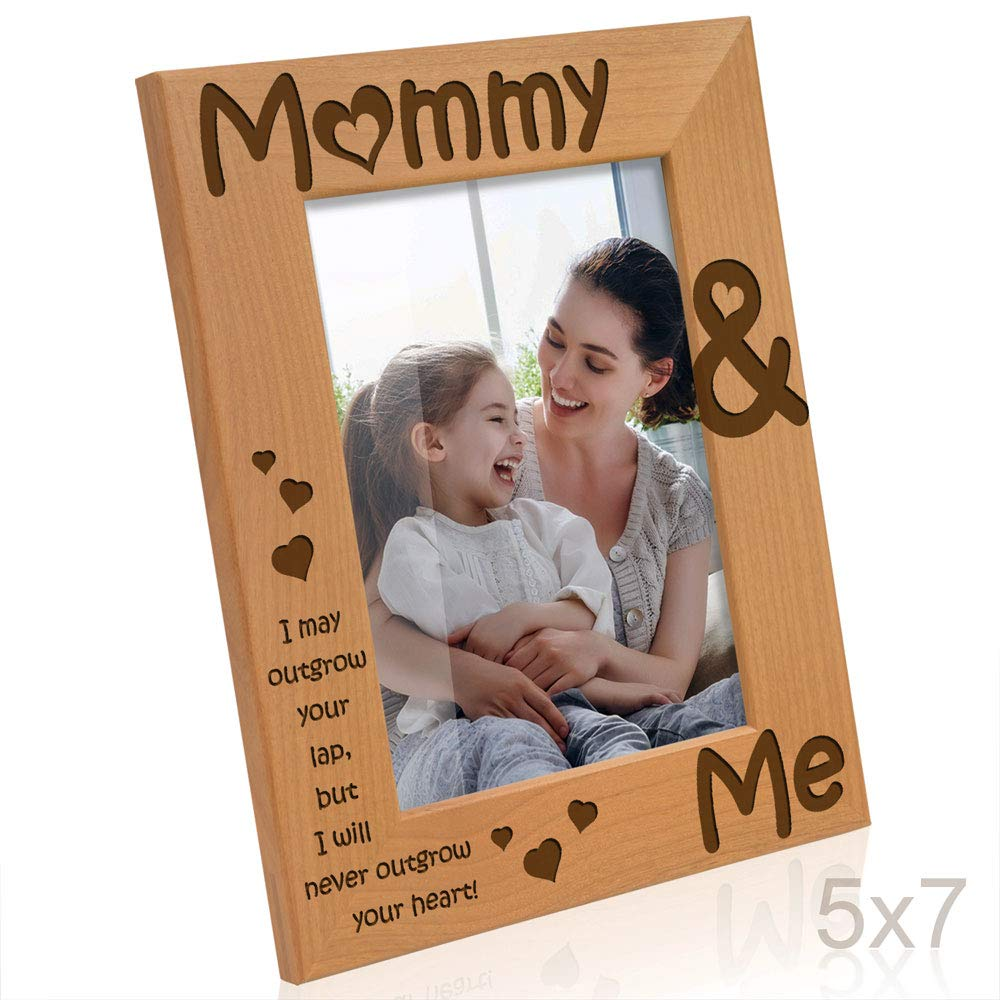 Kate Posh - Mommy & Me Engraved Natural Wood Picture Frame, I Love Mommy Photo Frame, New Baby Gifts, Nursery Picture Frame, New Mom Gifts (5x7-Vertical)