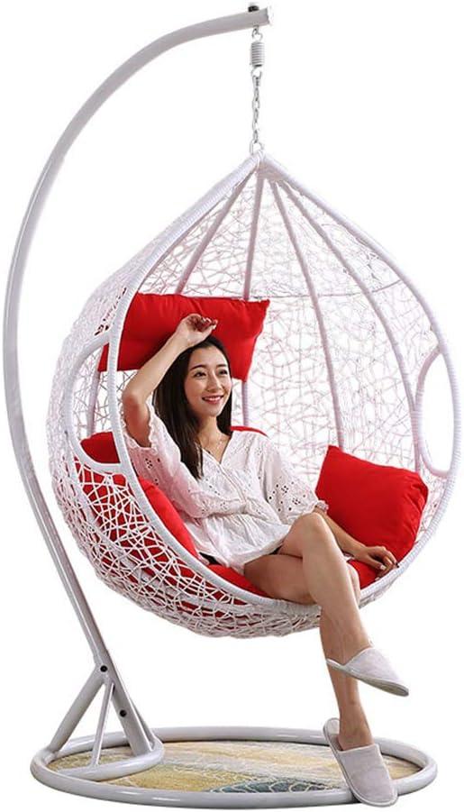 Dsqcai Sky Garden Terrace - Silla giratoria de Mimbre al Aire Libre, Canasta Colgante Inicio Balcón Interior Nido de pájaro Hamaca Silla de Cuna,2