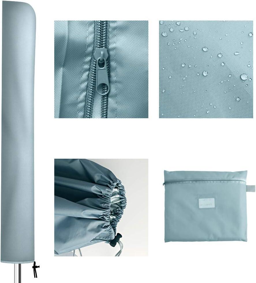 con Cerniera OKPOW Copertura per ombrellone in Tessuto Oxford 420D per ombrellone da Giardino e Giardino con Diametro di 200 cm 136 x 23 x 25 cm Impermeabile