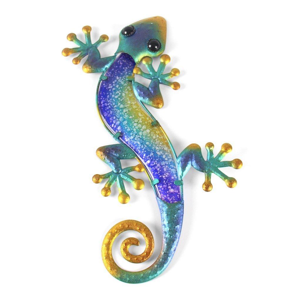 Liffy Metal Glass Wall Decorations Lizard Decorative Living Room Bedroom Wall Art Hang Indoors or Outdoors Blue