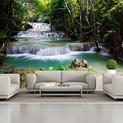 Etonnant Azutura Forest Waterfall Wall Mural Green Trees Photo Wallpaper Living Room  Home Decor Available In 8