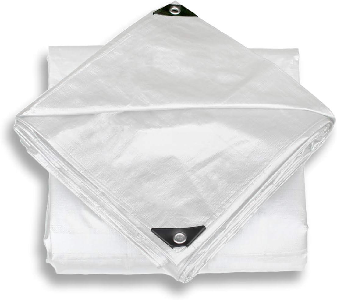 Windscreen4less 6' x 8' Heavy Duty 10 Mil Waterproof White Poly Tarp