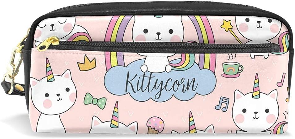Estuche de unicornio para gato, estuche con cremallera para niñas, bolsa de maquillaje grande con compartimentos: Amazon.es: Oficina y papelería