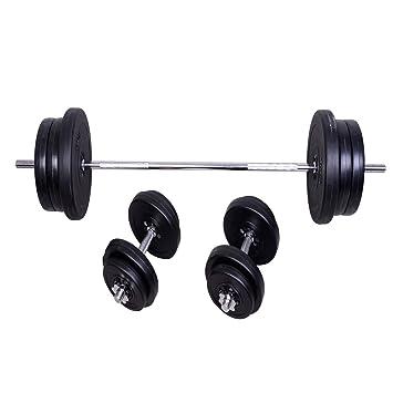 HOMCOM Set De Barra con Discos Pesas + 2 Mancuernas Fitness Musculación Entrenamiento: Amazon.es: Deportes y aire libre