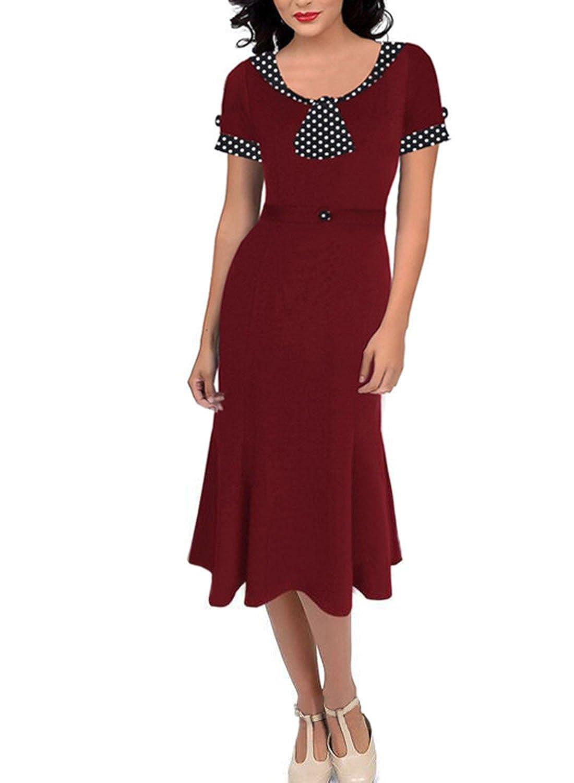 Sparkling YXB Damen Sommerkleid Polka Dots Rundhals 1950er Retro Fishtail Cocktailkleid