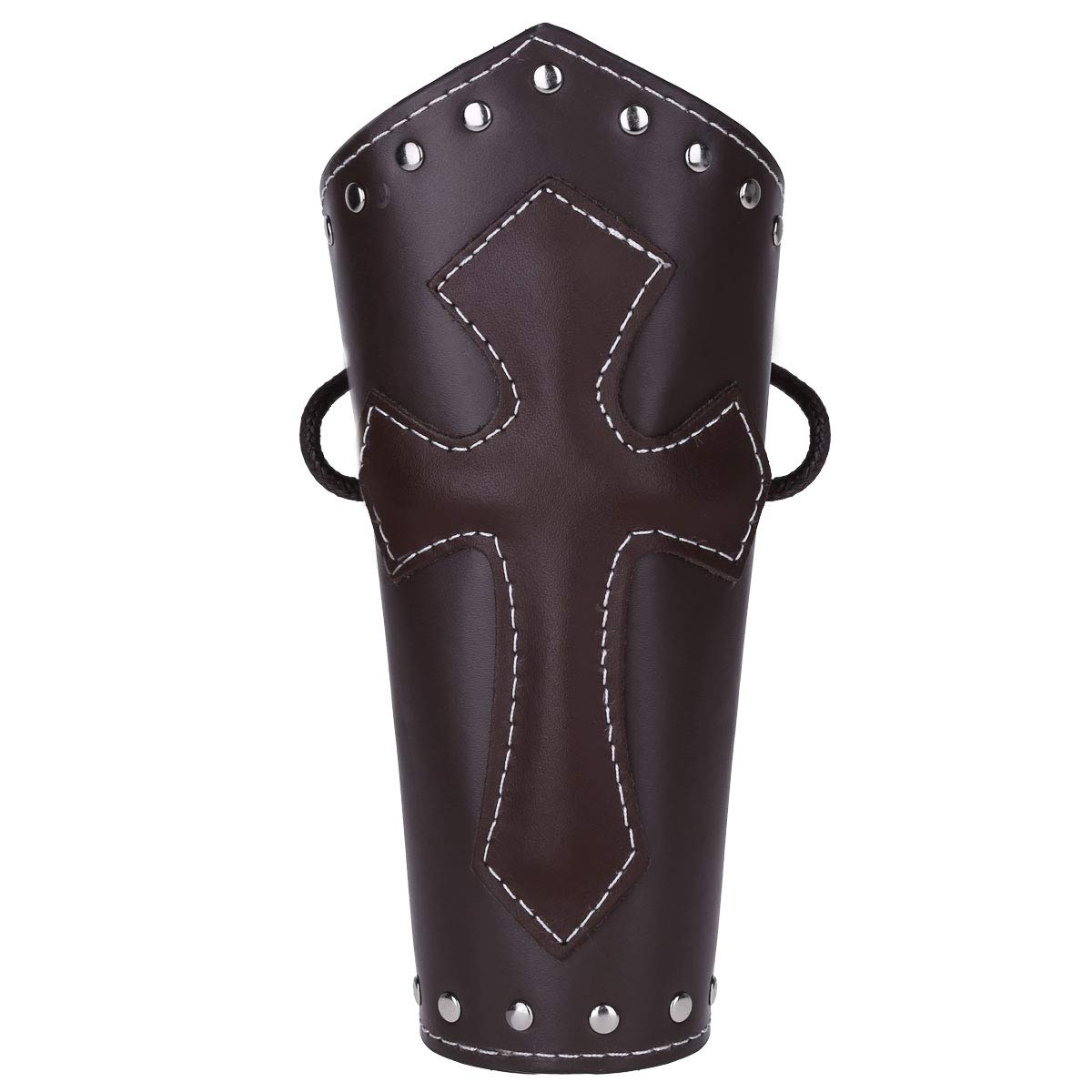 Agoky Unisex Faux Leather Gauntlet Wristband Wide Medieval Bracer Arm Guards Armor Cuff FXD10049459-10049224-US