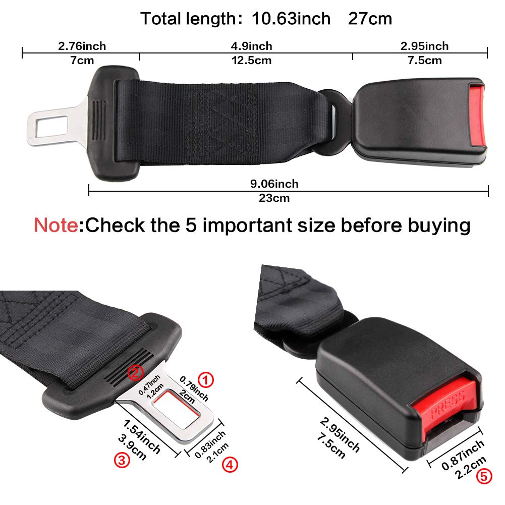 HSWT Car Seat Belt Extender7 8 Metal Tongue 21mmSeat Buckle Raises Receptacle
