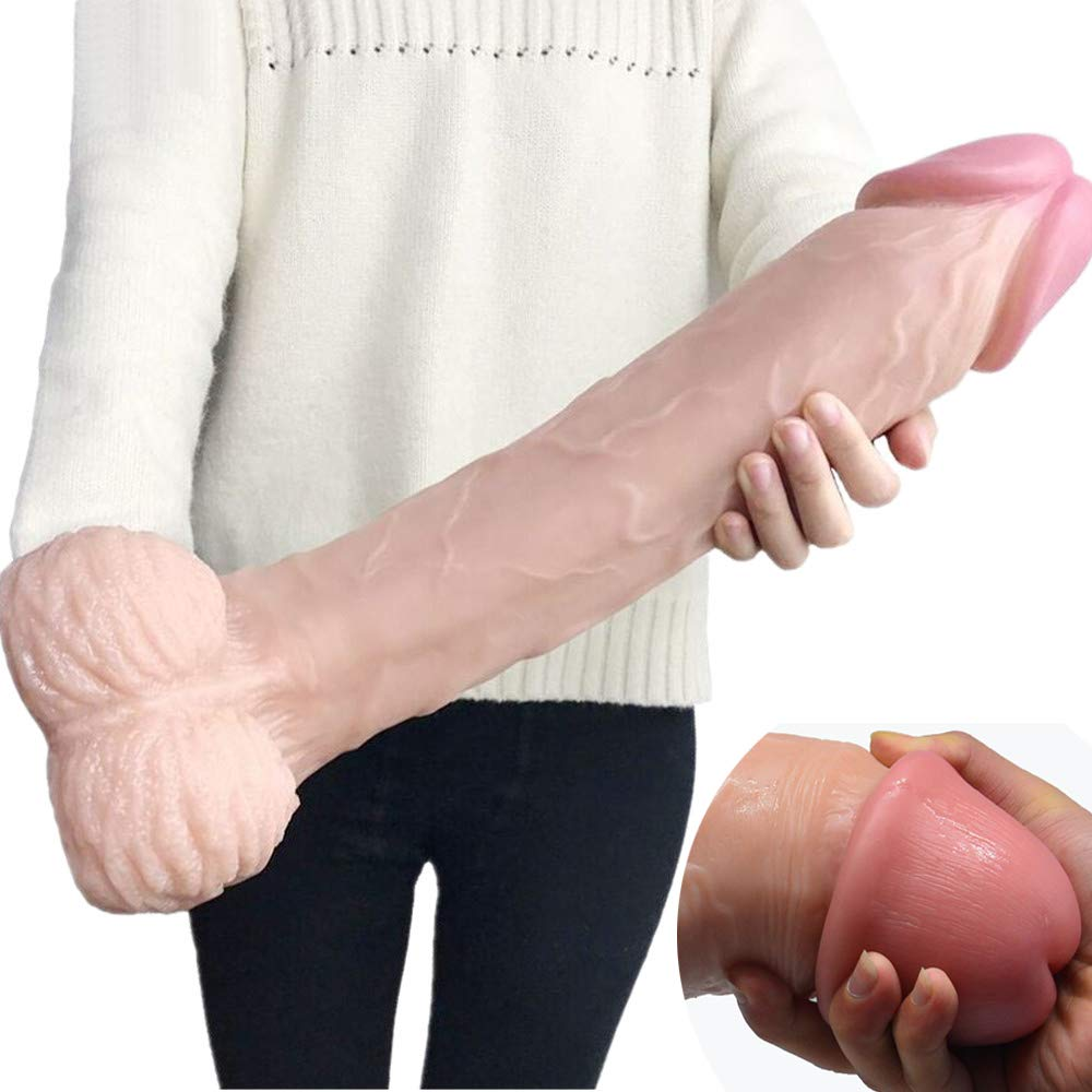 16.14 Inch New Arrival FAAK Super Huge 2.95 Inch Thick ReaIistic Dildo Female Masturbation Tool Massive Anal Sex Toy for Male Long Giant (Skin)