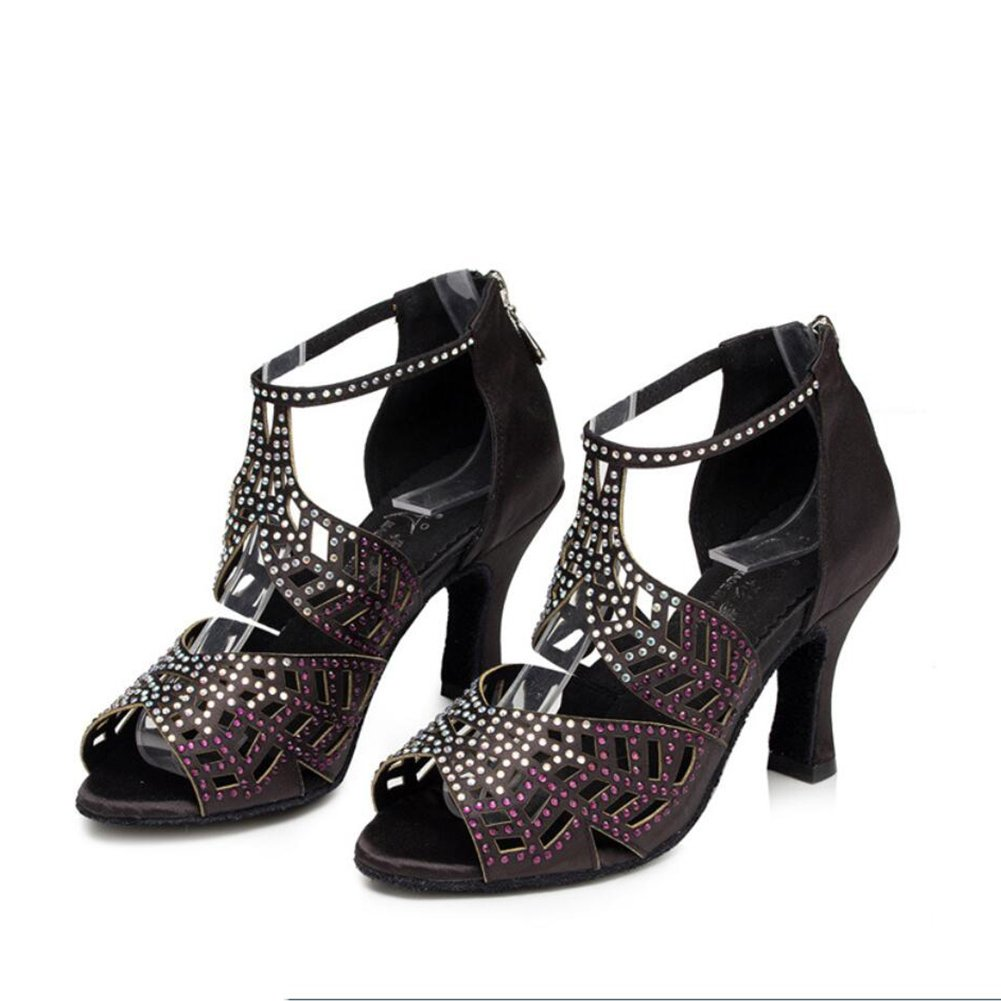 XUE Frauen Latin Schuhe Satin Sandale Turnschuhe Ferse Practice Schnalle Hollow-Out Flarot Ferse Dance Schuhe Schwarz Party & Abend (Farbe   C, Größe   35) B07DC6LZ7Z Tanzschuhe Wir haben von unseren Kunden Lob erhalten.