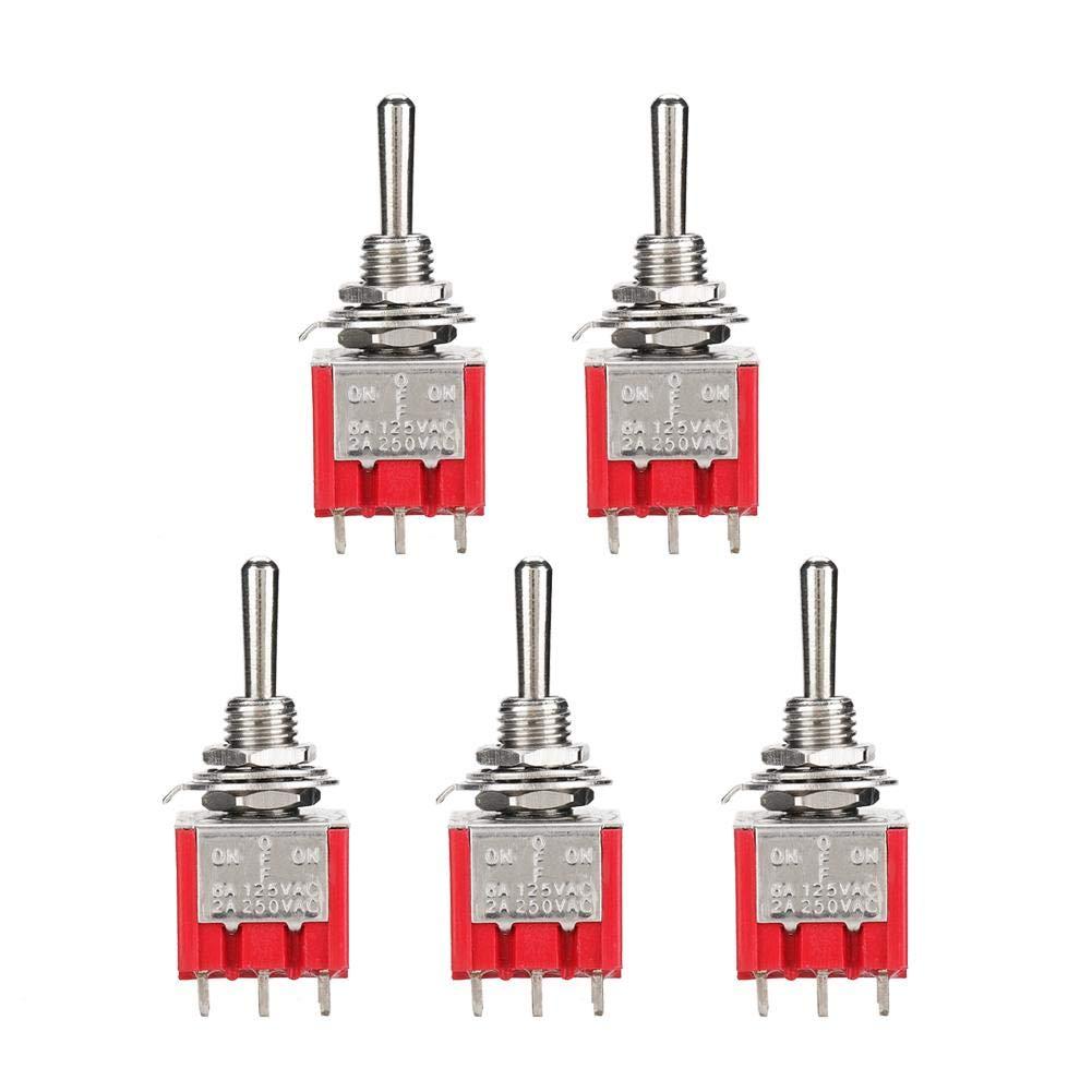 5PCS MTS-303 Mini interruptor de palanca 3PDT 3 v/ías 9 Pin3 Posici/ón ON-OFF-ON Orificio de montaje de 6 mm