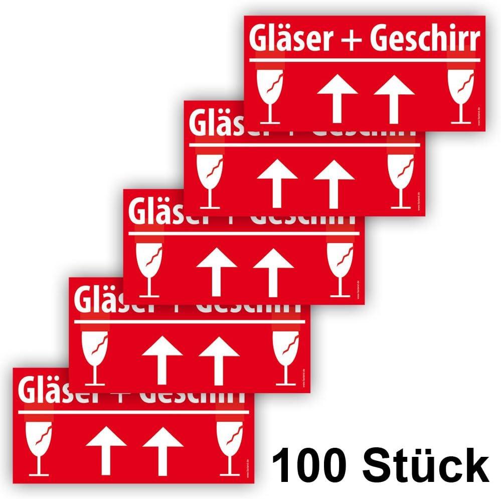 60 St/ück 60x VORSICHT GLAS Aufkleber Big Gro/ß 21x10cm Rot Umzugetiketten Sicherheitsetikett als Warnhinweis selbstklebend