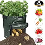 ZIQIAN Garden Planter Grow Bags with Access Handles and Flap for Harvesting, Grow Vegetables Plant Tub for Potato, Carrot, Tomato, Onion – 10 Gallon Heavy Duty & Durable Bags (4-PACK)