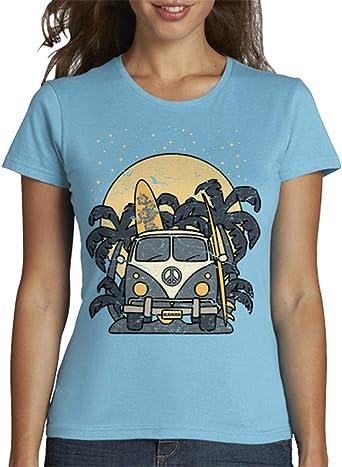 latostadora - Camiseta Furgoneta Noche de Surf para Mujer: hello: Amazon.es: Ropa y accesorios