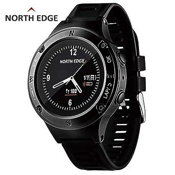 RENYAYA North Edge Deportes Hombres Reloj GPS Hombres Relojes Digitales SmartWatch Impermeable Ritmo cardíaco Altímetro Barómetro brújula Horas Senderismo: ...