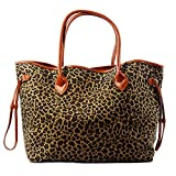 Leopard Tote Bag Cheetah Women Handbag with light brown PU Leather Handle and snap closure (Black) (Light brown)