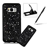 Case for Samsung Galaxy S8 Plus,Rubber Case for Samsung Galaxy S8 Plus,Herzzer Luxury Ultra Slim Black Bling Glitter Soft Gel TPU Shiny Stars Design Shockproof Protective Bumper Back Case for Samsung Galaxy S8 Plus + 1 x Free Black Cellphone Kickstand + 1