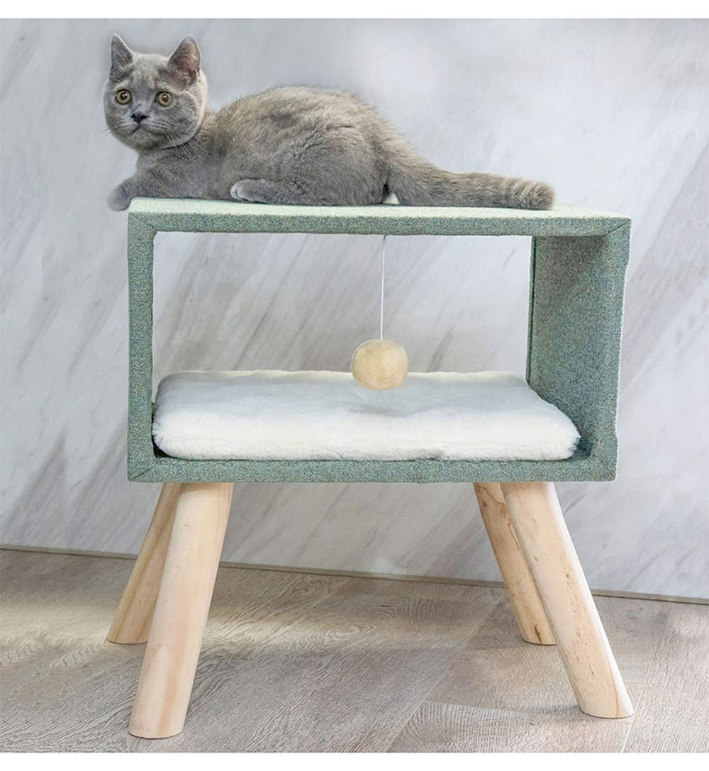 Green Square Simple Entertainment Cat Tree, Cat Tower Climbing Frame Tower with Unique Design,Pet Nest Supported by Wooden Frame,Fresh and Natural Comfortable Simple Style Pet Furniture,Green