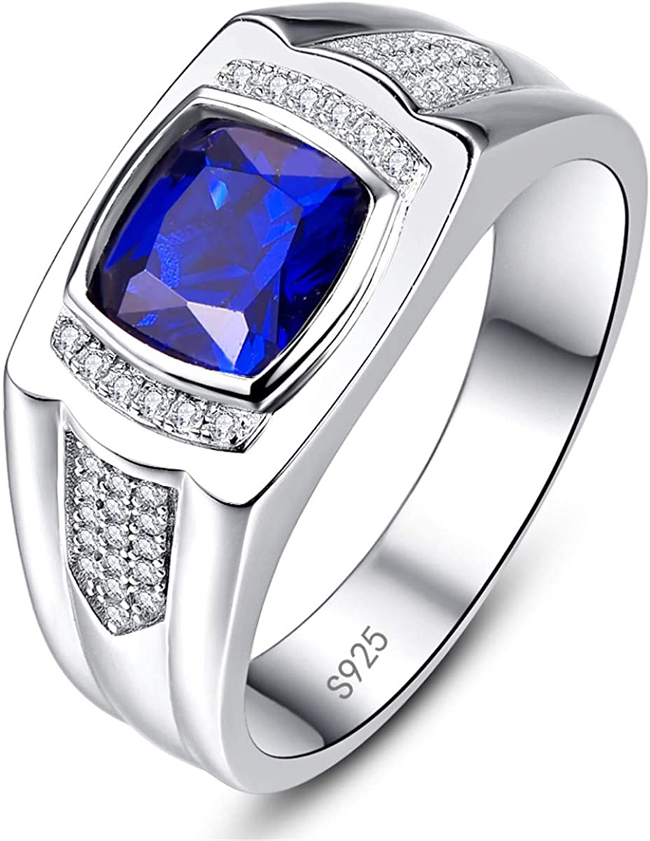 Unique Mens Ring Personalized Ring,925 Sterling Silver Ring Cz Sapphire Stone Men/'s Ring anniversary husband Sterling Silver Men Ring