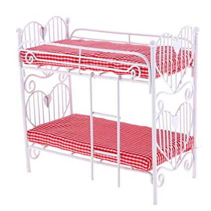 Bismarckbeer 1 12 Scale Doll House Furniture Miniature Bunk Bed For Bedroom Kids Collection Toy