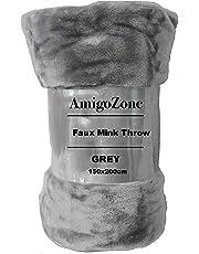 AmigoZone Soft Faux Fake Fur Mink Throw Sofa Bed Blanket