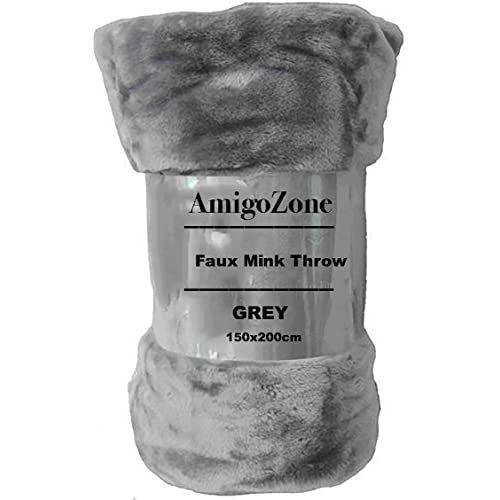 AmigoZone Soft Luxury Faux Fake Fur Mink Throw Sofa Bed Blanket (Silver  Grey, Double