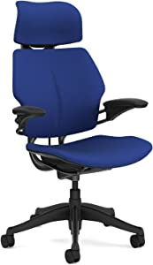 Humanscale Freedom Office Desk Chair with Headrest - Standard Height Adjustable Duron Arms - Graphite Frame Blue Wave Fabric - Soft Hard Floor Casters