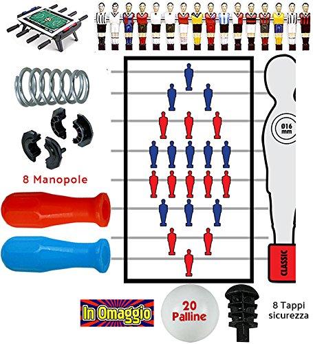 Calcio Balilla serie completa otto (8) aste passanti uscenti diametro mm.16, con molle, boccole, manopole A73 blu e rosse, tappi e palline in omaggio. Renzline by Longoni