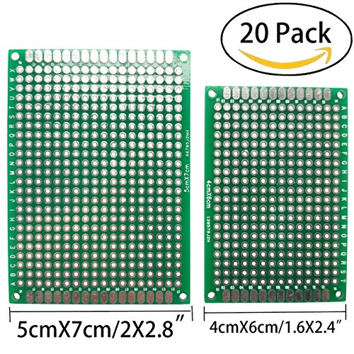 Topspeeder 20 PCS Double Sided PCB Board Prototype Kit for DIY 2 sizes universal printed circuit board