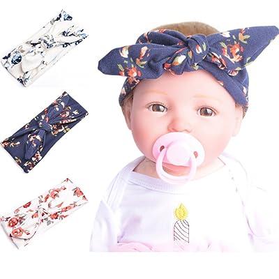 conception de la variété vente la plus chaude vente au royaume uni 3 Pcs Bébé Fille Garçon Bandeau Cheveux Bow Bandeau Turban ...