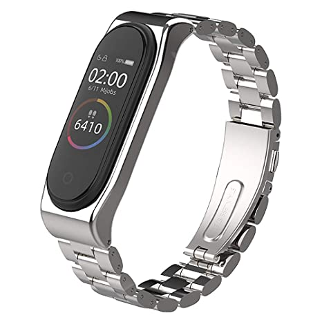 Fuleadture Xiaomi Mi Band 4 Bracelet Mi Band 3 Strap Ajustable en Acier Inoxydable Watch Bracelet de Remplacement pour Montres Connectées Xiaomi Mi ...