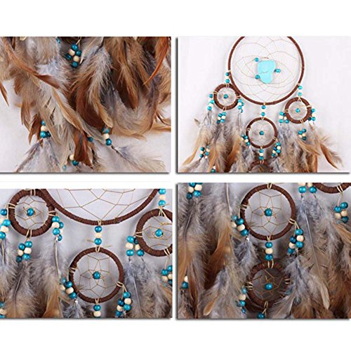 "CHUANGLI Dream Catcher Feathers Dreamcatcher Wedding Style Car Hanging Home Decor Length: 25.59"" (Brown)"