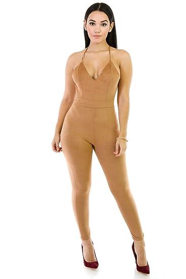 ac87c214c89 Amazon.com  GITI ONLINE Suede Play Jumpsuit L Camel  Clothing