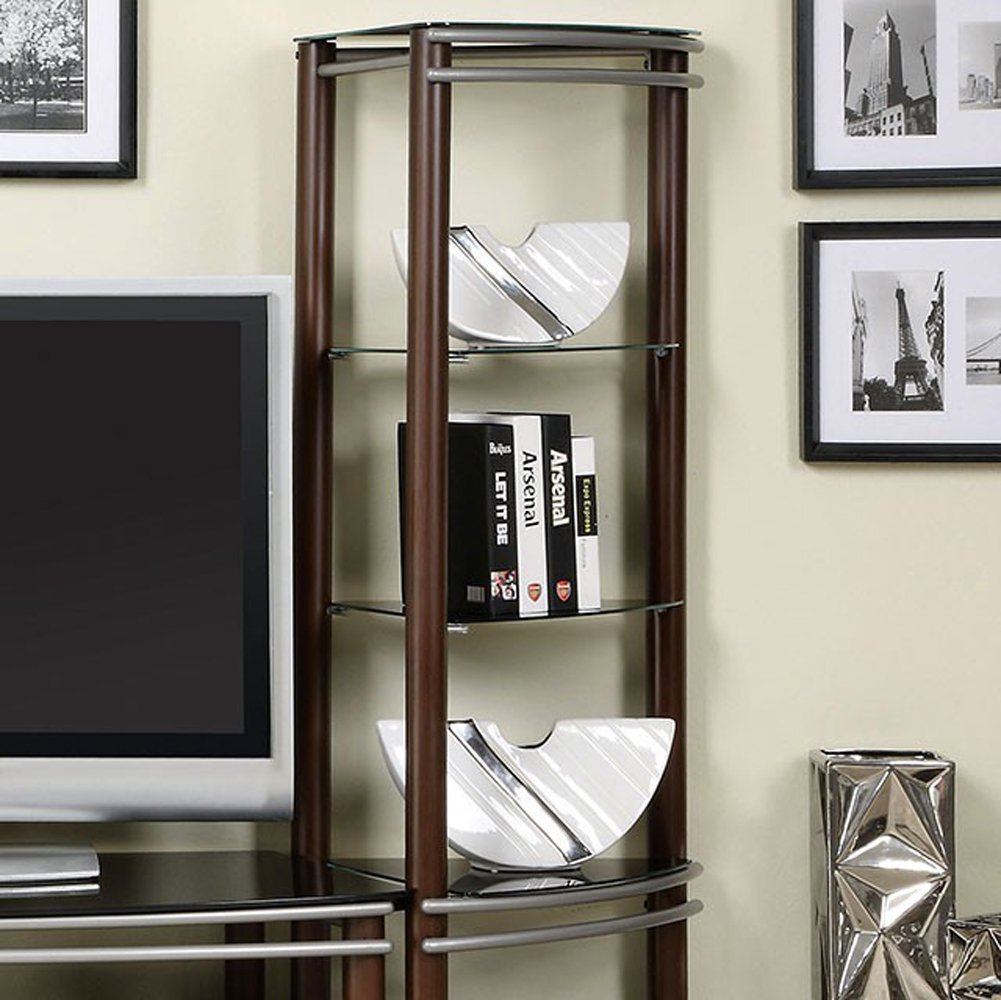 Contemporary Black Tempered Glass 2 Pier Brown and Silver Entertainment Center Wall Unit by Furniture of America