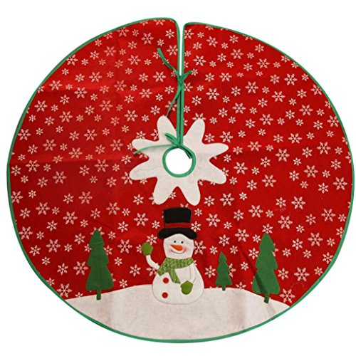 Iuhan NEW Xmas Holiday Style Red White Felt Snowflake Christmas Tree Skirt Home Party (Elf Holiday Apron And Hat Adult)