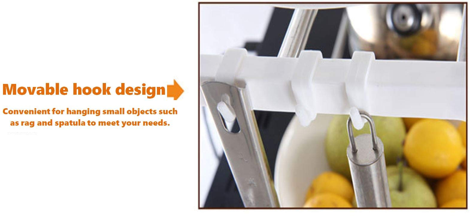 ZIXUAN Stainless Steel 2-Tier Expandable Multi-Function Storage Rack.(Length: 495mm~850mm, Height: 605mm, Width:250mm)