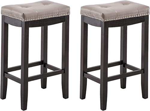 YEEFY Leather Bar Stools Set of 2 24 Counter Height Stools Mid Century with Solid Wood Legs Pub Chair Grey