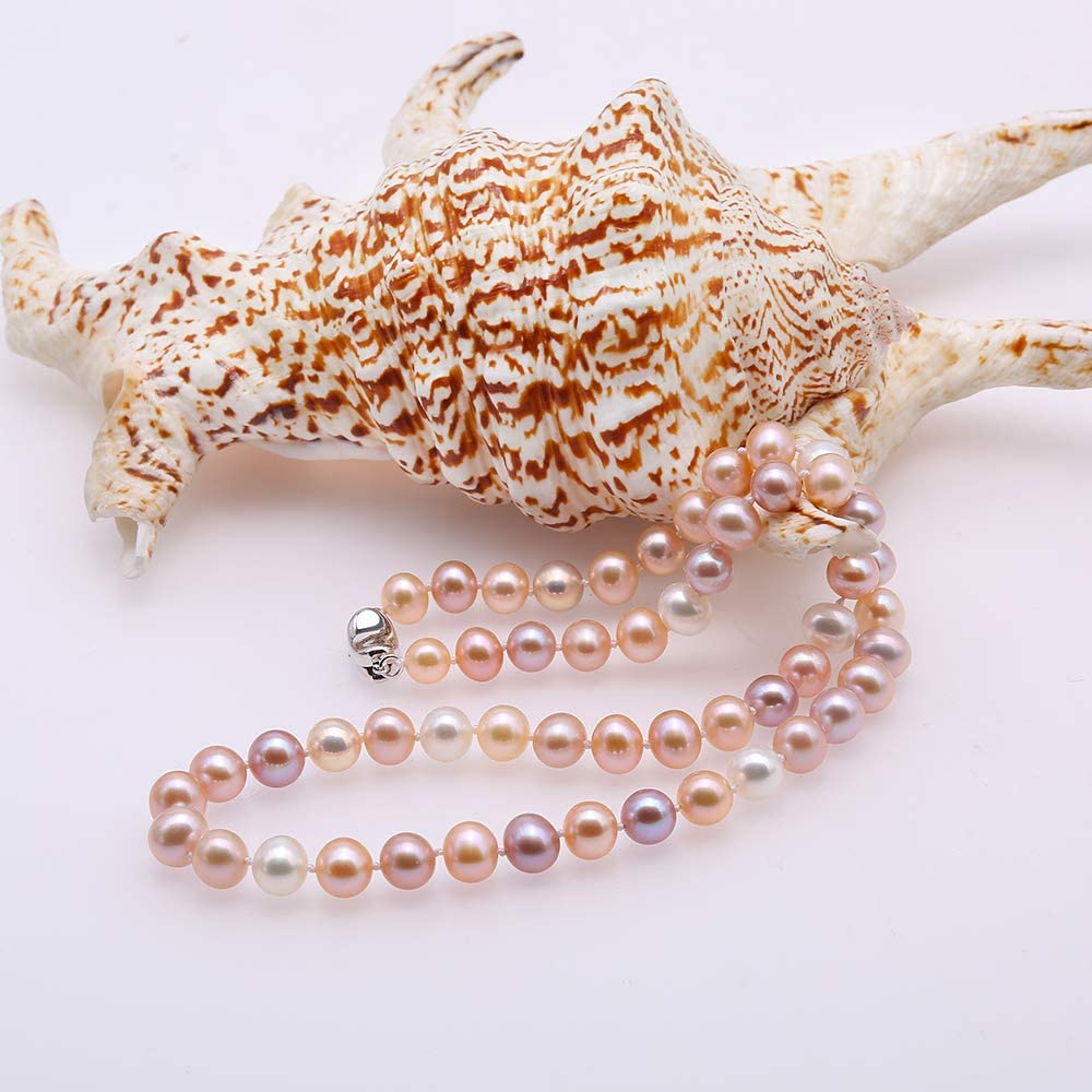 Quality 7-8mm Near Round Natural Pink and Lavender Freshwater Pearl Necklace 18 JYX Pearl AA