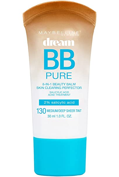 Maybelline New York Dream Pure BB Cream 8-in-1 Skin Clearing Perfector, Deep 1 oz (Pack of 4) Girl12Queen 8.7cm Blackhead Curved Acne Tweezer Remover Tool Pimple Comedone Face Cleaner