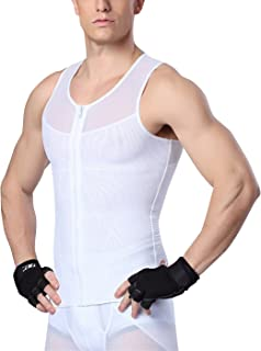 AIEOE Men's Zipper Shapewear Compression Shirt Tummy Slimming Body Shaper