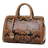 QZUnique Women's Fashion Chinese Style Elegant Empaistic Top Handle Cross Body Shoulder Bag Brown