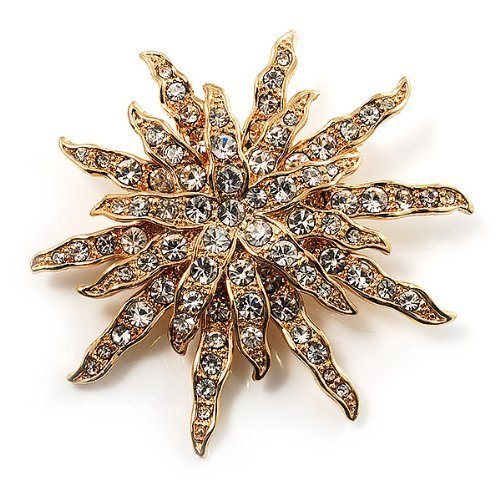 Gemstone Star Brooch (Vintage Gold Tone Swarovski Crystal Star Brooch/Pendant)