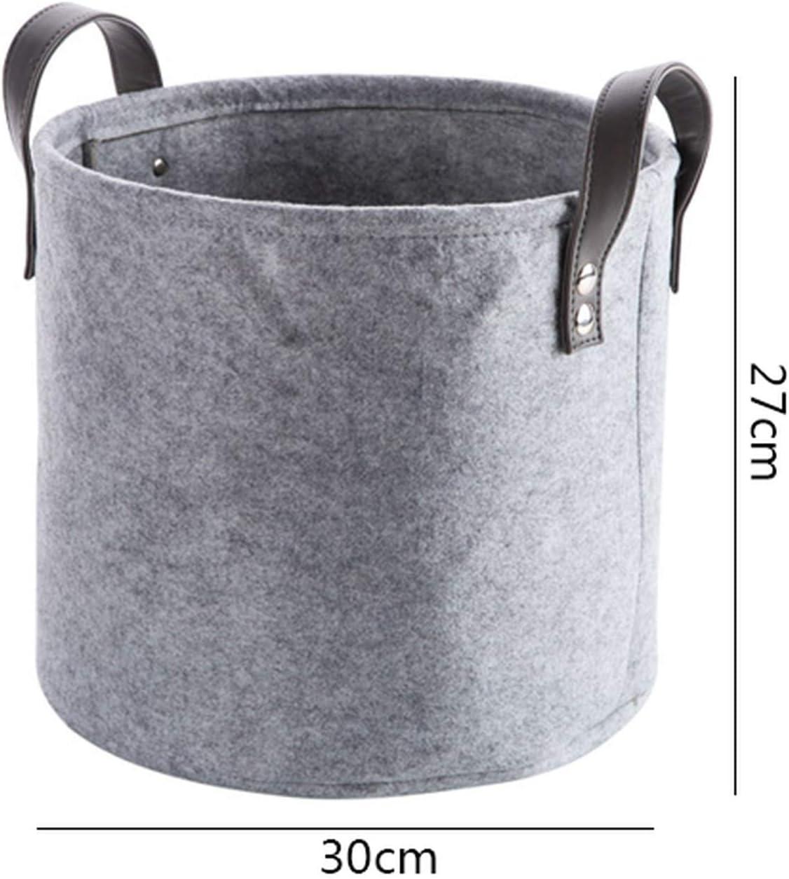 Gray Felt Storage Basket Bedroom Closet Clothes Toy Storage Bin with Handle,M