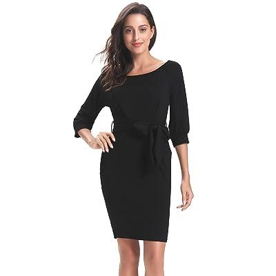 Abollria Women's Elegant 3/4 Sleeve Work Office Casual Bodycon Pencil Midi Dress Pockets Black: Clothing