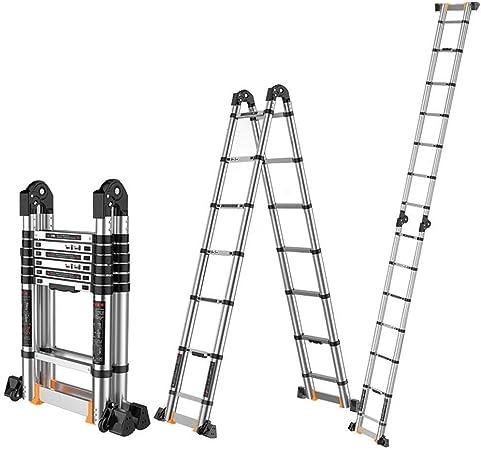 ZKORN Escalera telescópica, Aluminio Escalera de extensión telescópica con Marco en A Escaleras telescópicas Plegables Multiusos con Barra de Soporte Soportes portátiles livianos 330 LB: Amazon.es: Hogar
