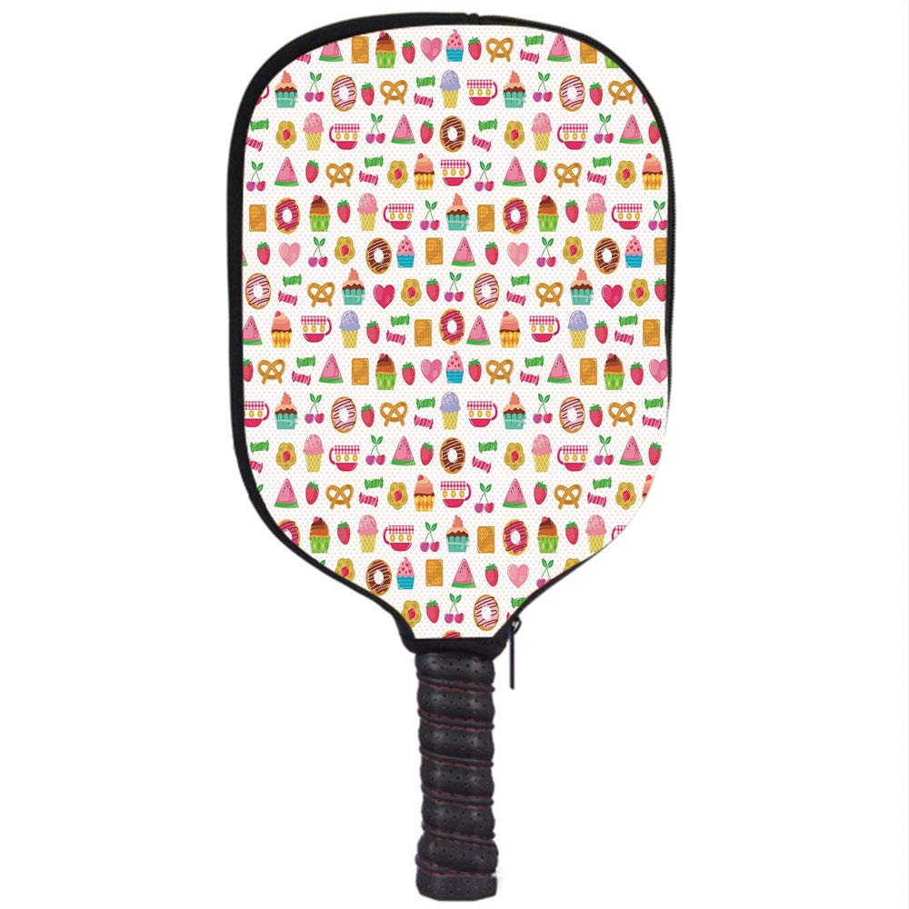 Amazon.com : Neoprene Pickleball Paddle Racket Cover Case, Tea Party, Sweets Candies Cookies Fruit and Other Cute Things Festive Cheerful Collection ...