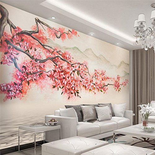 LHDLily 3D Wallpaper Mural Wall Sticker Thickening Custom Photo Stickerss Beautiful Hand - Painted Landscape Plum Tv Backdropwall Paper 350cmX250cm by LHDLily