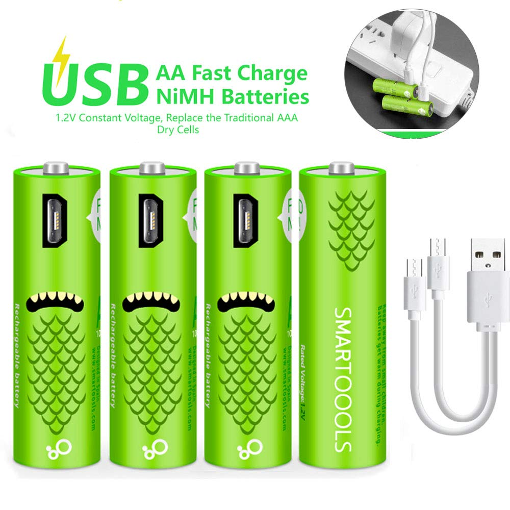 USB Rechargeable AA Batteries, Rechargeable Batteries - Cell 1.2V / 1000mAH - High-Capacity Batteries Long-Lasting Power Recyclable Recharge Battery-(4 Count)