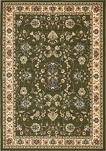 Unique Loom Kashan Collection Traditional Floral Overall Pattern with Border Green Area Rug (7' 0 x 10' 0) (Collection Green)
