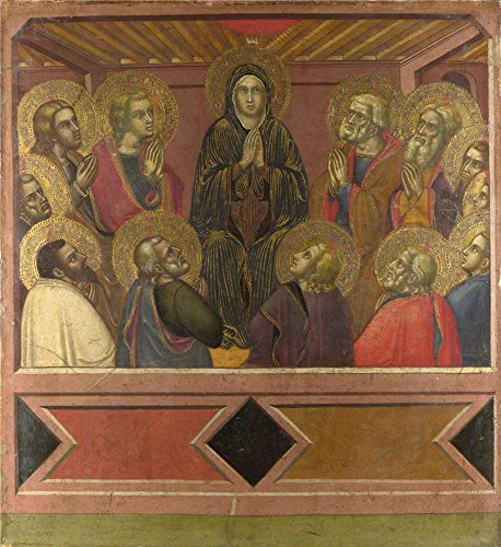 Venetian Bronze Estate Series (Oil Painting 'Barnaba Da Modena - Pentecost,1377', 16 x 17 inch / 41 x 44 cm , on High Definition HD canvas prints is for Gifts And Dining Room, Powder Room And Study Room Decoration, art)